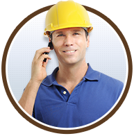 construction worker with cell phone