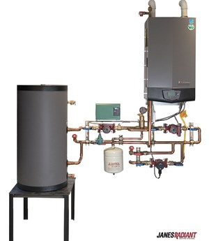 Lochinvar Knight condensing boiler, indirect tank and mechanical panel